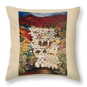 Flying Lamb Productions          Harmony Creative Village Group Portrait Throw Pillow