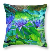 Harmony Of Purple And Green Throw Pillow