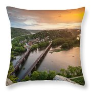 Harpers Ferry National Historical Park Maryland Heights Sunset Throw Pillow
