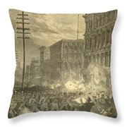 Harpers Sixth Regiment Fighting Railroad Strikers Throw Pillow