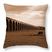 Harringworth Viaduct And Horses Grazing Throw Pillow