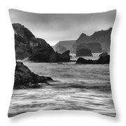 Harris Beach Oregon Monochrome Throw Pillow