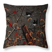 Harris Sparrows And Bittersweet Throw Pillow