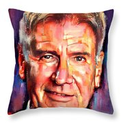 Harrison Ford Indiana Jones Portrait 2 Throw Pillow