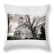 Harrisonburg, Rockingham County Courthouse, Virginia - Bw 1 Throw Pillow