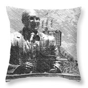 Harry Caray Statue With Historic Wrigley Scoreboard Bw Throw Pillow