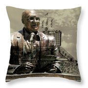 Harry Caray Statue With Historic Wrigley Scoreboard In Heirloom Throw Pillow