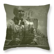 Harry Caray Statue With Historic Wrigley Scoreboard Throw Pillow