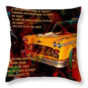 Harry Chapin Taxi Song Poster With Lyrics Throw Pillow
