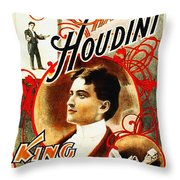 Harry Houdini - King Of Cards Throw Pillow