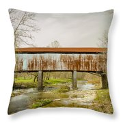 Harshaville Covered Bridge  Throw Pillow