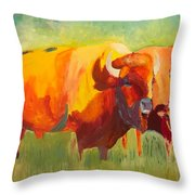 Hartsel Bison Family In Springtime Throw Pillow