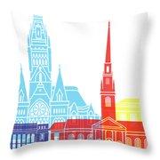 Harvard Ma Skyline Pop Throw Pillow