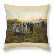 Harvest Festival By Alfred Wierusz-kowalski 1849-1915 Throw Pillow