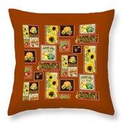 Harvest Market Pumpkins Sunflowers N Red Wagon Throw Pillow