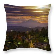 Harvest Moon 2016 Moonrise Over Happy Valley Oregon Throw Pillow