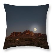 Harvest Moon Over Superstition Mountain Throw Pillow