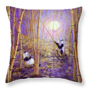 Harvest Moon Pandas  Throw Pillow