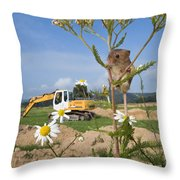 Harvest Mouse And Backhoe Throw Pillow