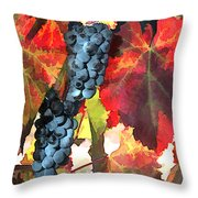 Harvest Time Grapes And Leaves Throw Pillow