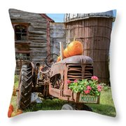Harvest Time Vintage Farm With Pumpkins Throw Pillow