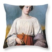 Harvester Holding Her Sickle Throw Pillow