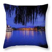 Harveston Lake At Night Throw Pillow
