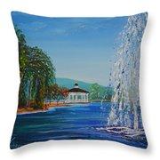 Harveston Lake Fountain Throw Pillow