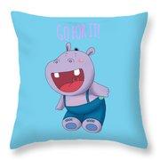Harvey Hippo Go For It Lt Throw Pillow