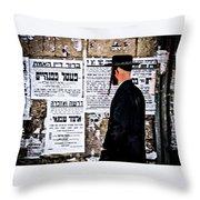 Hasadic Jew Reading Pashkevilin  Throw Pillow