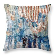 Hassam Avenue In The Rain Throw Pillow
