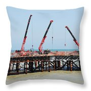 Hastings Pier, England Throw Pillow