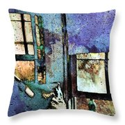 Hat And Glass Bottle Throw Pillow