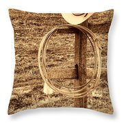 Hat And Lariat On A Post Throw Pillow