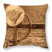 Hat And Lasso On A Fence Throw Pillow