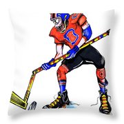 Hat Trick Hockey Player Throw Pillow