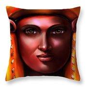 Hathor- The Goddess Throw Pillow by Carmen Cordova