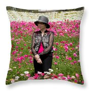 Hatted Lady In A Field Throw Pillow