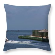 Hatteras Dock And Boat Throw Pillow