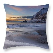 Haukland Sunset Throw Pillow