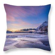 Haukland Sunset - Vertical Throw Pillow