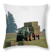 Hauling Hay At Dusk Throw Pillow