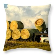 Hauling Hay Bales 2 Throw Pillow
