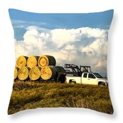 Hauling Hay Bales Throw Pillow