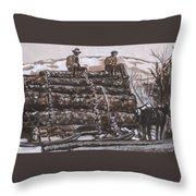 Hauling Logs Historical Vignette Throw Pillow