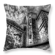 Haunted Church In Black And White Throw Pillow