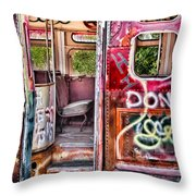 Haunted Graffiti Art Bus Throw Pillow