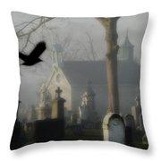 Haunted Halloween Cemetery Throw Pillow