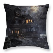 Haunted House Throw Pillow by Kayla Ascencio