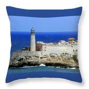 Havana Harbor Lighthouse Throw Pillow
